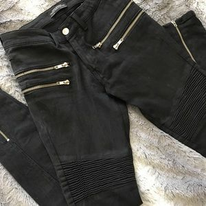 Zara Charcoal gray Moto style jeans with zippers